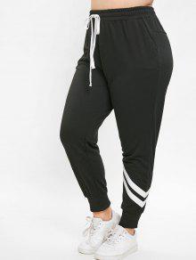 الرباط زائد الحجم Jogger الرياضة سروال - أسود 3x