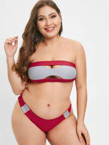 Two Tone Plus Size Bikini Set