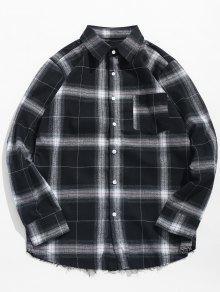 عارضة طويلة الأكمام زر حتى القميص منقوشة - كربون رمادي M