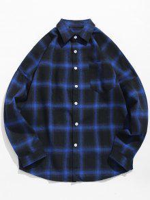 انخفاض الكتف الأكمام فحص قميص كاجوال - منتصف الليل الأزرق Xs