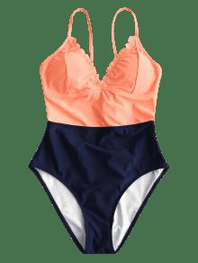 a58e3b2deeb2e 37% OFF  2019 ZAFUL Two Tone High Rise Scalloped Swimsuit In ORANGE ...