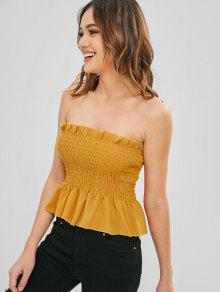 24de72c2ba0efb 23% OFF   HOT  2019 Ruffles Shirred Bandeau Top In GOLDEN BROWN