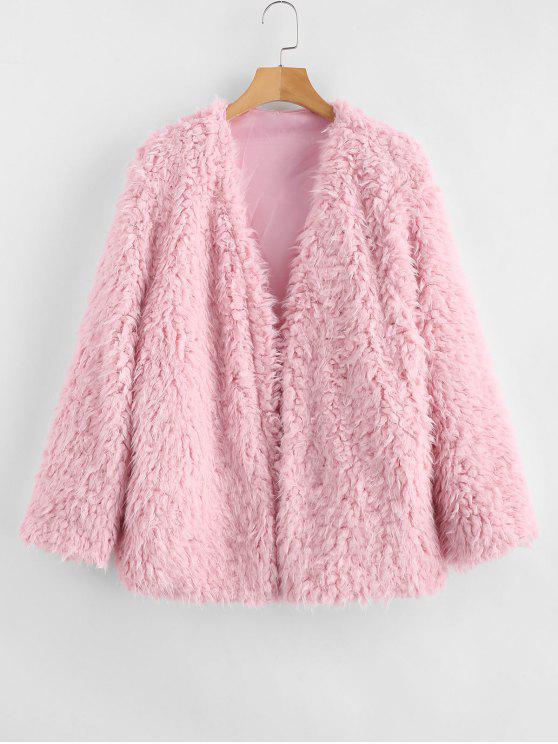 Wintermantel Brown Flauschiger Offener Vorderseite Pink Mit Camel Kunstpelz IvYfbgy76