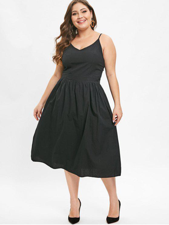23% OFF] 2019 Midi Plus Size Cami A Line Dress In BLACK | ZAFUL