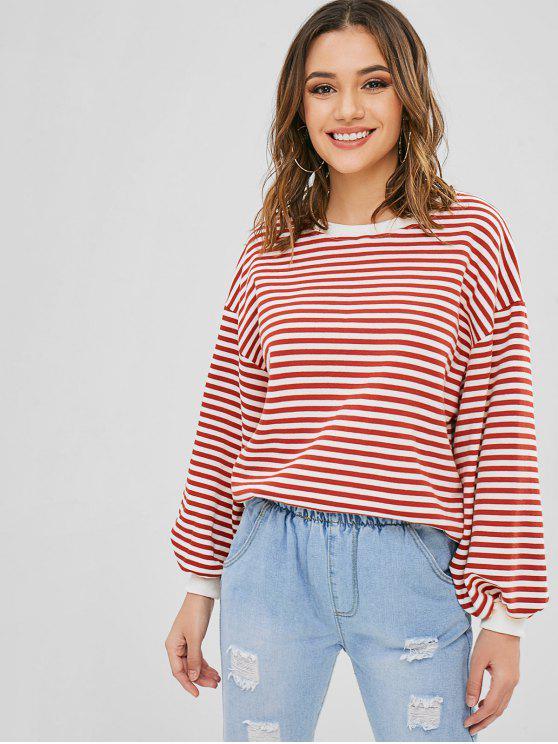 hot Striped Blouson Sleeve Oversized Sweater - MULTI ONE SIZE