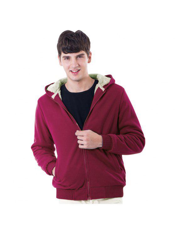 sale Solid Faux Fur Lined Sweatshirt Jacket - RED S