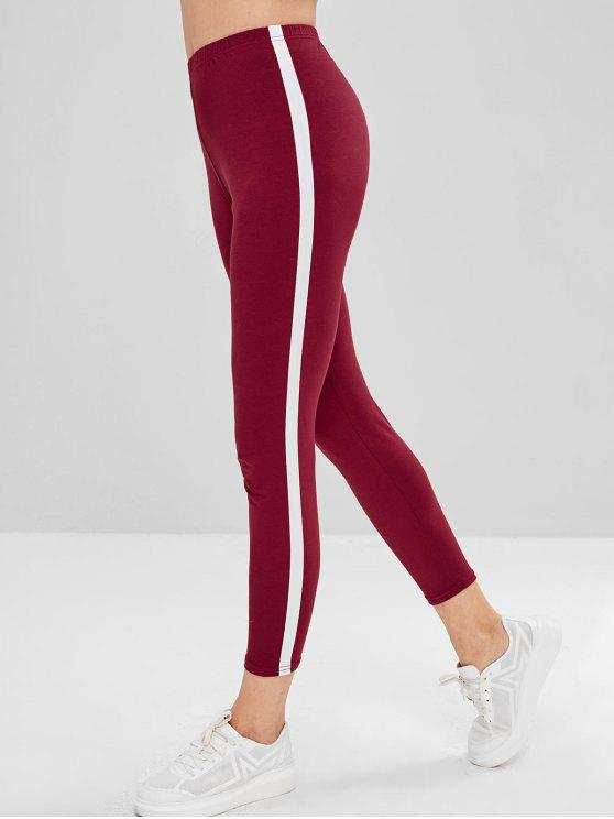 affordable Stripe Trim Leggings - RED WINE L