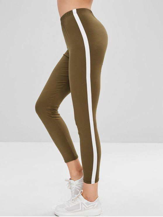 unique Stripe Trim Leggings - ARMY GREEN L
