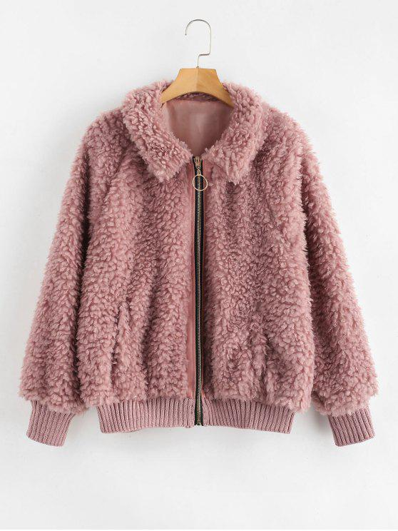 fancy Cozy Zip Up Faux Fur Winter Coat - LIPSTICK PINK S
