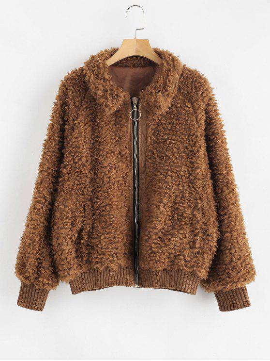 fancy Cozy Zip Up Faux Fur Winter Coat - BROWN S