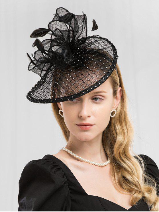 outfit Floral Mesh Wedding Hair Hoop - BLACK