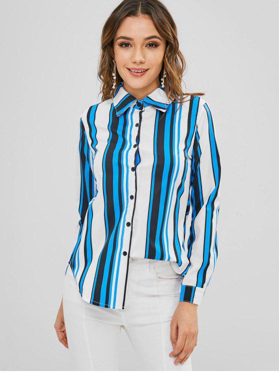 Chemise boutonnée à rayures et manches longues - Multi M