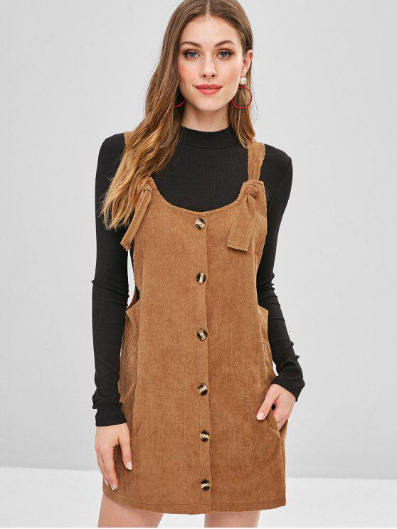 unique Tie Corduroy Overall Dress - LIGHT BROWN M