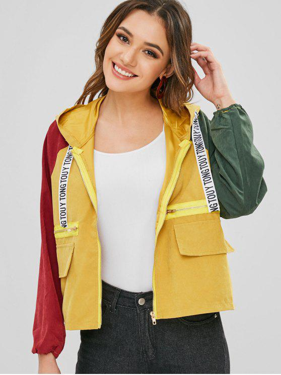 new Zipper Embellished Contrast Hooded Jacket - GOLDENROD S