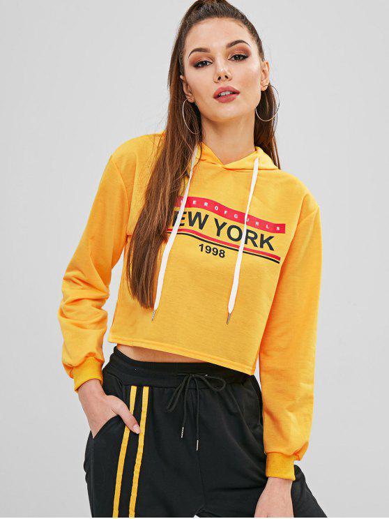 Hoodie colhido gráfico do cordão da letra - Amarelo Brilhante XL