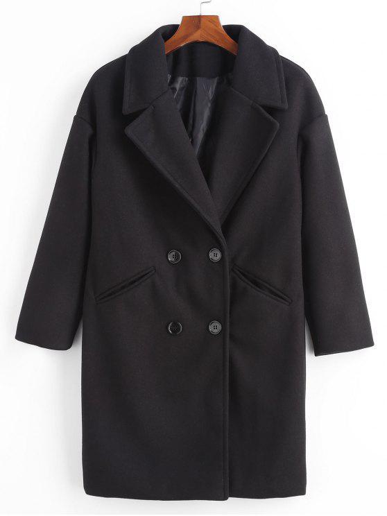 women Double Breasted Plain Lapel Coat - BLACK M
