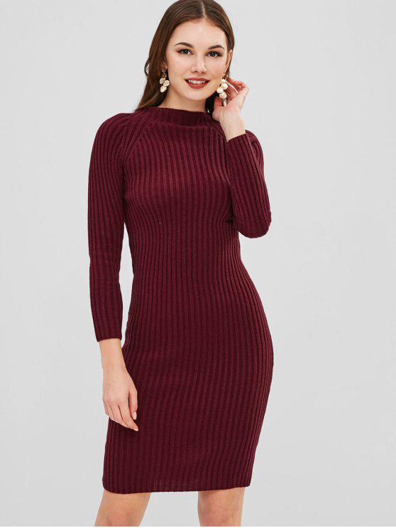 chic Knee Length Bodycon Sweater Dress - FIREBRICK ONE SIZE