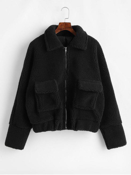Flap Pockets Zip Up - Faux Shearling - Teddy-Mantel - Schwarz S