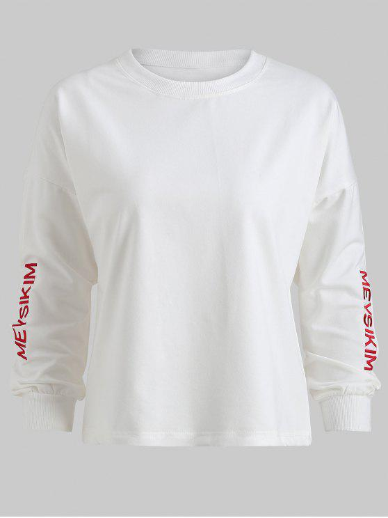 hot Plus Size Split Letter Embroidered Sweatshirt - WHITE 4X