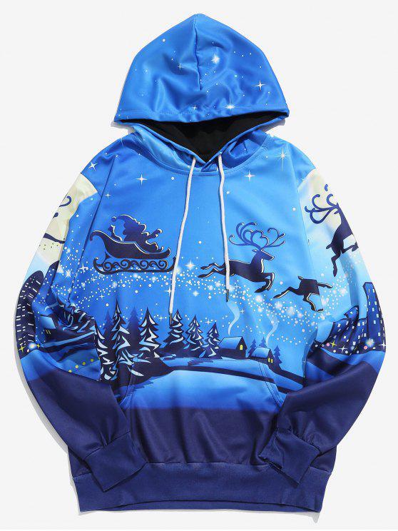 affordable Christmas Reindeers Sleigh Print Hoodie - OCEAN BLUE L