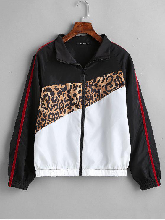 outfit ZAFUL Leopard Print Contrast Windbreaker - MULTI S