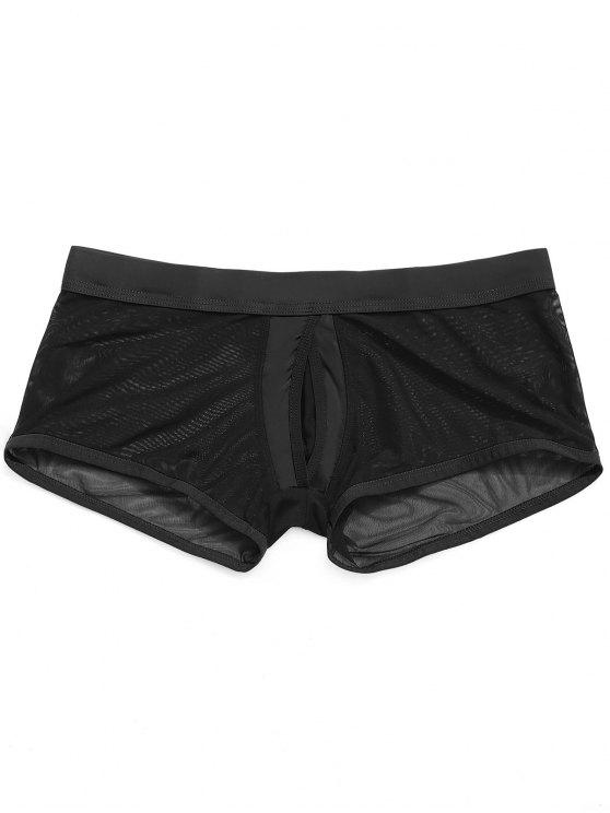 hot Mesh Jock Strap Boxer Pouch Briefs - BLACK S