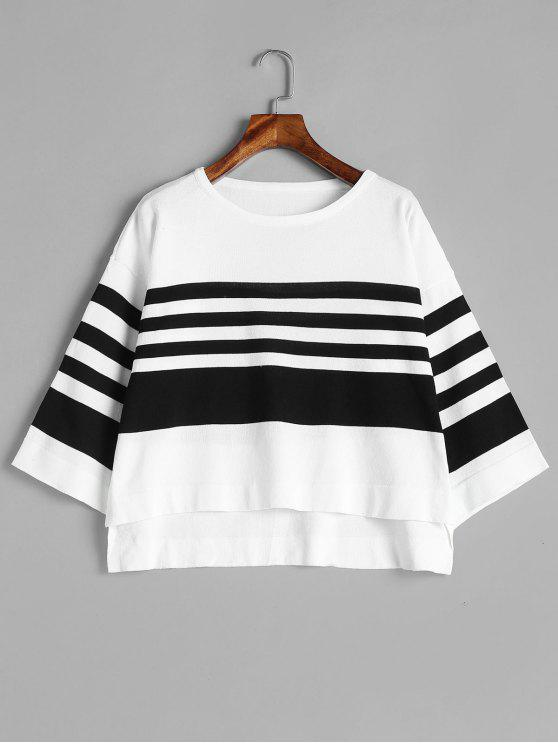 womens Step Hem Bell Sleeve Striped Sweater - MULTI ONE SIZE