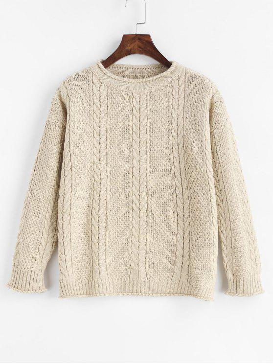 online Slit Cable Knit Drop Shoulder Sweater - WARM WHITE ONE SIZE