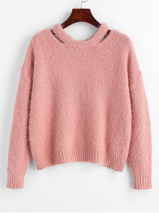 a0d64ca00 42% OFF  2019 Drop Shoulder Pullover Sweater In LIGHT PINK