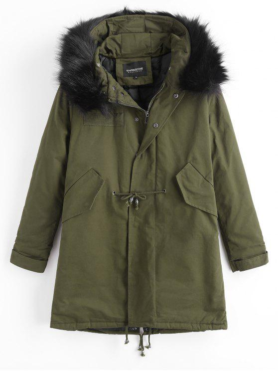 shop Detachable Faux Fur Hooded Padded Coat - ARMY GREEN M