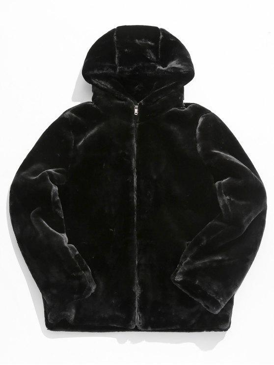 Chaqueta gruesa de piel sintética sólida - Negro XS