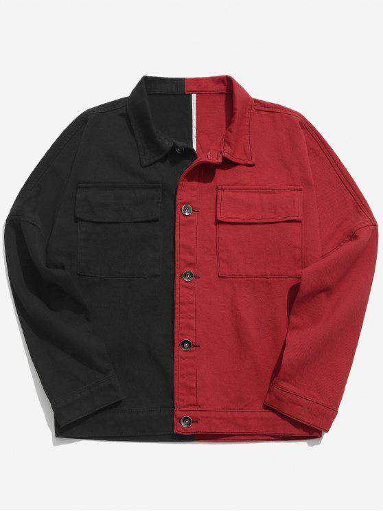 women Patchwork Letter Podcket Denim Jacket - RED 2XL