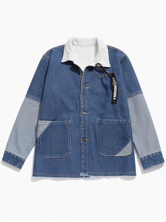 latest Colorblock Patchwork Fleece Denim Jacket - JEANS BLUE L