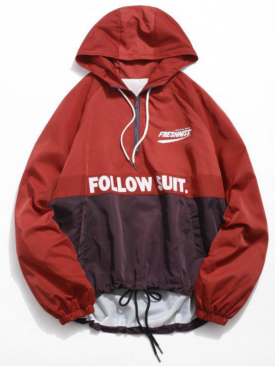 fashion Contrast Half Zip Letter Pullover Jacket - RED WINE S