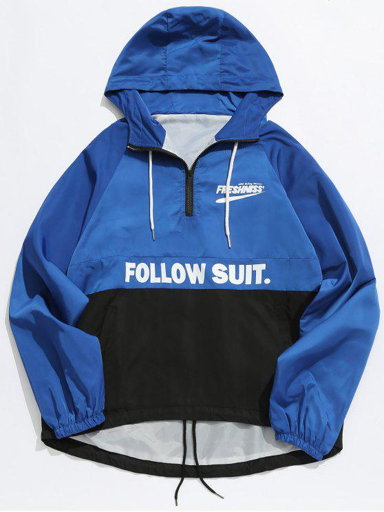womens Contrast Half Zip Letter Pullover Jacket - BLUE M