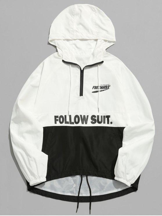 women Contrast Half Zip Letter Pullover Jacket - WHITE M