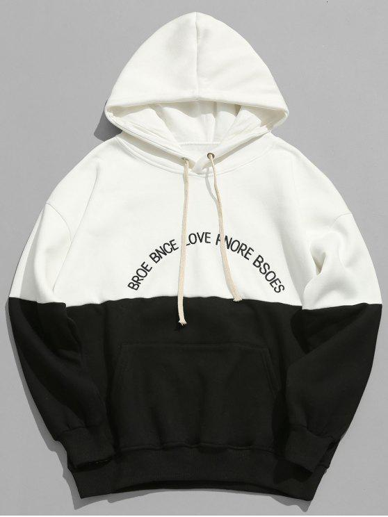 outfits Letter Fleece Panel Hoodie - WHITE L