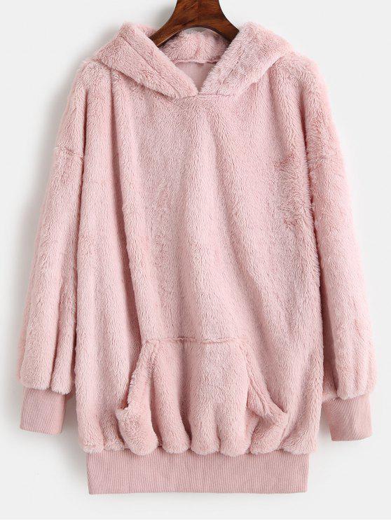 affordable ZAFUL Kangaroo Pocket Longline Fluffy Hoodie - PINK XL