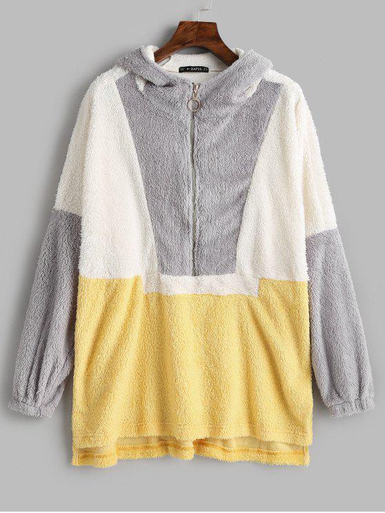 buy ZAFUL Half Zip Contrast Longline Fluffy Hoodie - MULTI S