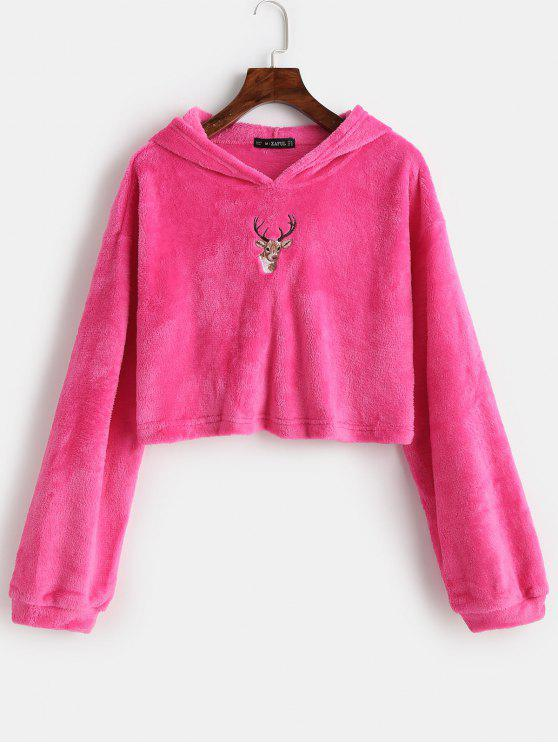 lady ZAFUL Reindeer Embroidered Christmas Fluffy Hoodie - ROSE RED M