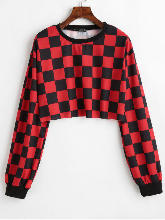 outfits ZAFUL Contrast Checkered Crop Sweatshirt - RED XL