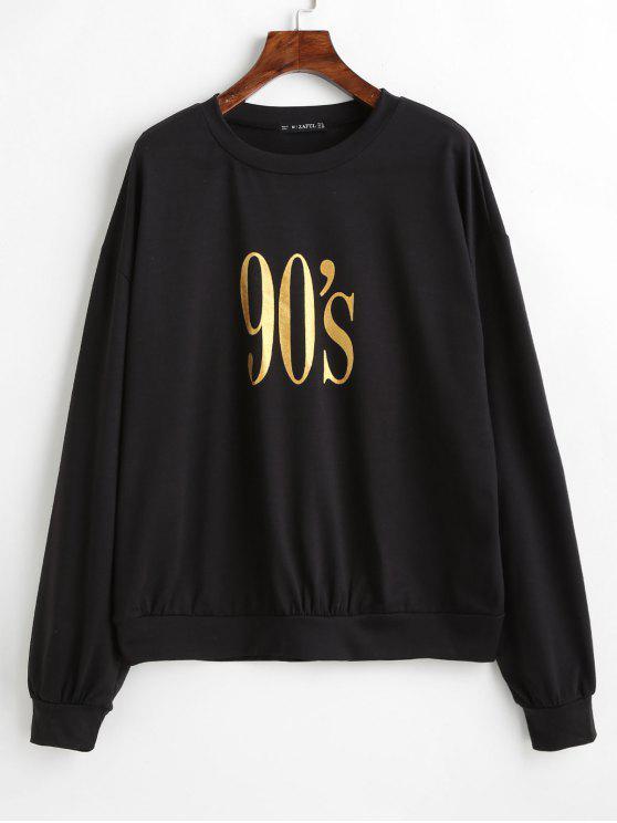 shop ZAFUL Number Graphic Loose Sweatshirt - BLACK S