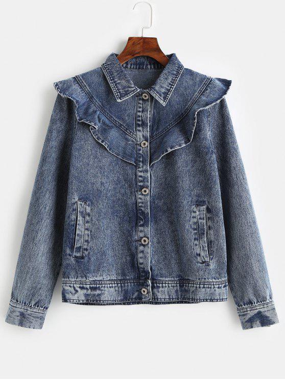 fashion ZAFUL Ruffles Button Up Denim Jacket - DENIM DARK BLUE S
