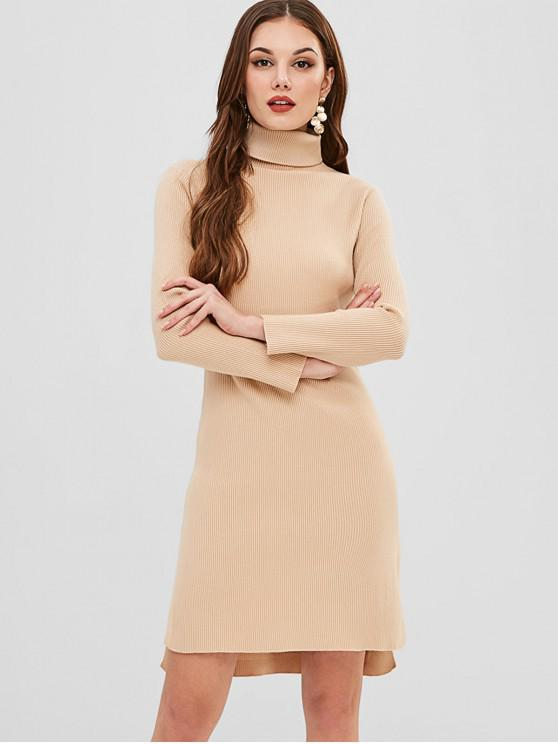 women's Ribbed Turtleneck Sweater Dress - CAMEL BROWN ONE SIZE