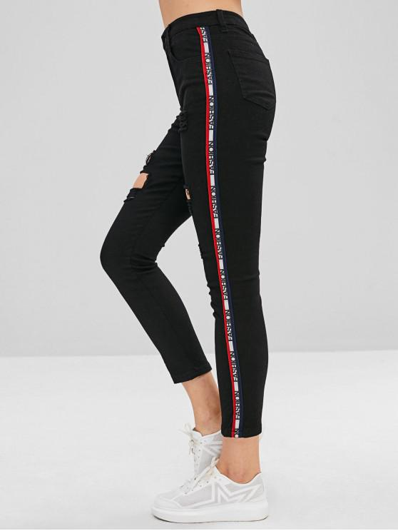 trendy Side Letter Graphic Rippded Jeans - BLACK L