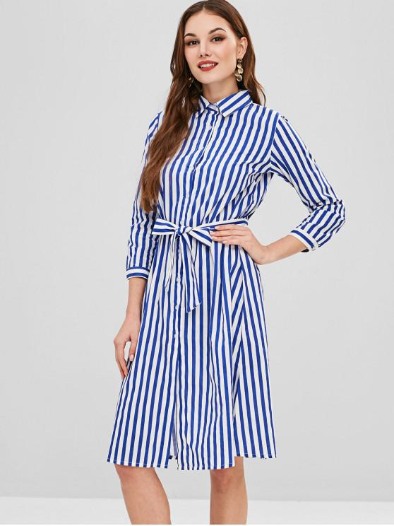 buy Long Sleeve Belted Stripes Shirt Dress - MULTI S
