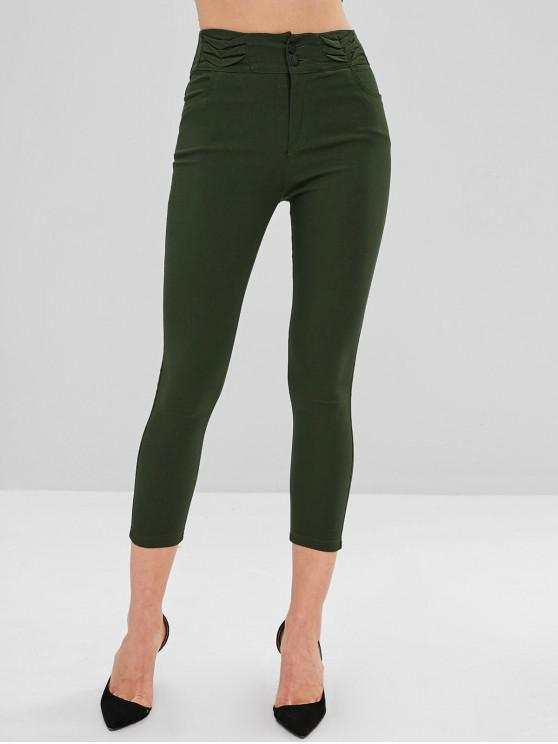 hot Pleated Skinny Pants - ARMY GREEN S