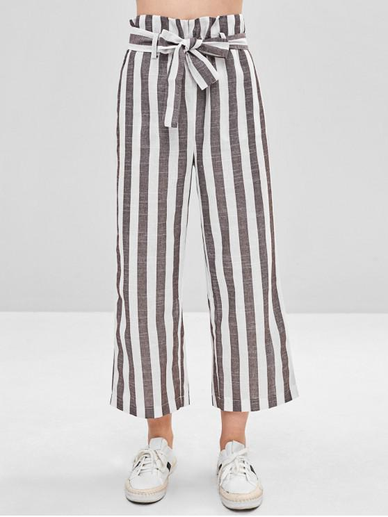 shop Belted High Waisted Stripes Wide Leg Pants - MULTI XL