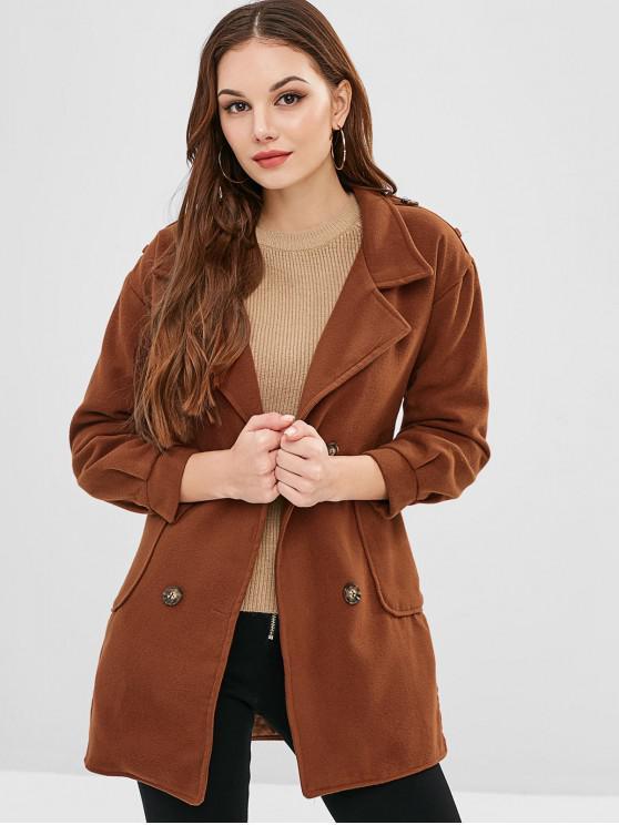 fashion Wool Blend Slit Longline Pocket Coat - BROWN L