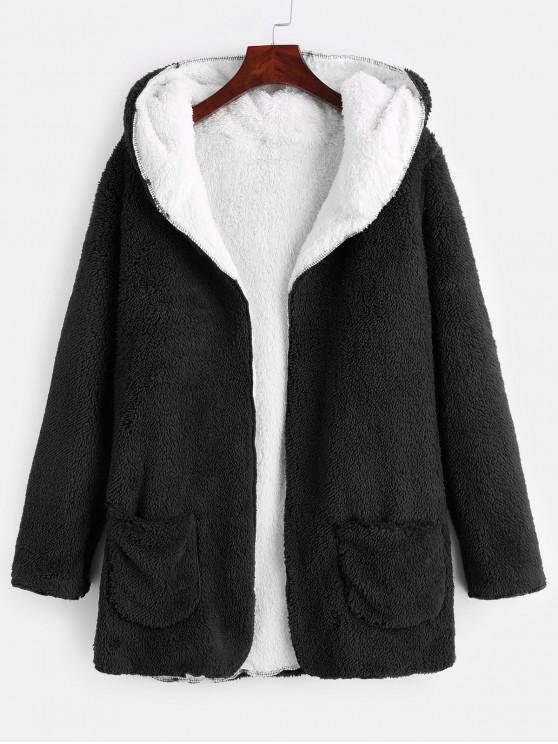 ladies Front Pocket Fluffy Coat - BLACK S